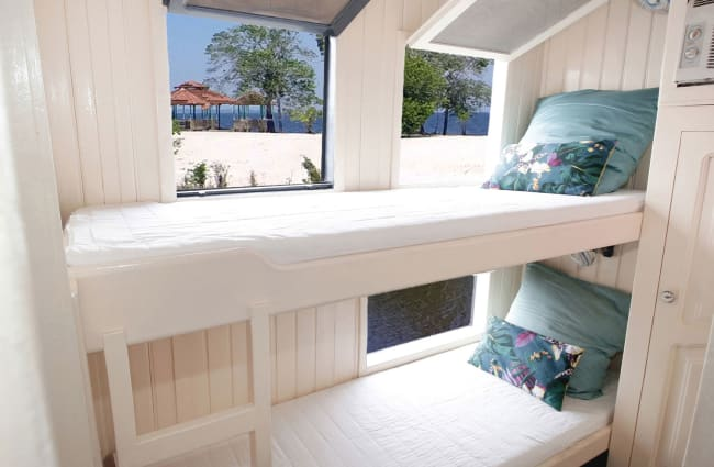 Bunk beds in a bright room