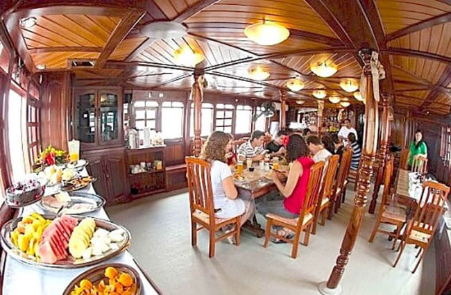 Buffet and group of people by the bar