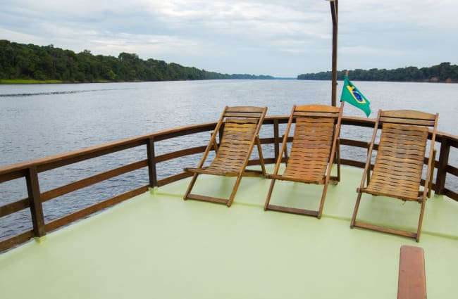 Lounge chairs on the deck