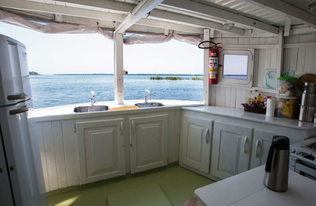 Kitchen with a river view