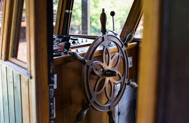 Steering wheen on the bridge