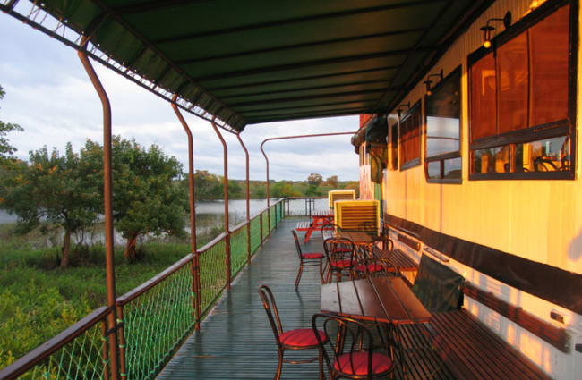 Seats and tables on the outdoor deck