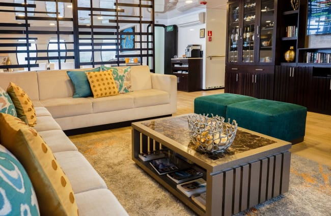 Sofas at the indoor lounge