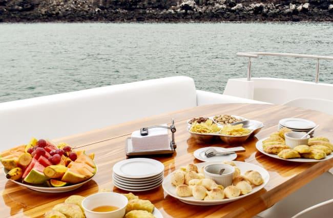 Snacks on the table on the sun deck
