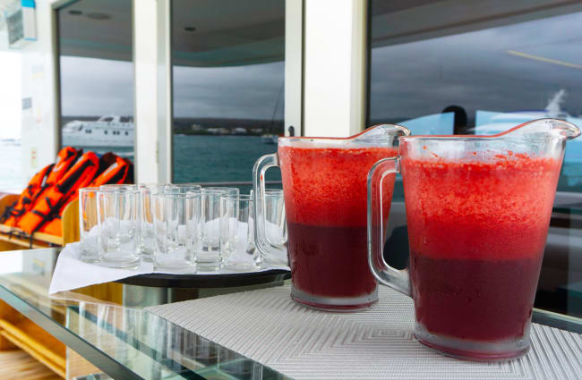 Red smoothies on the sun deck bar