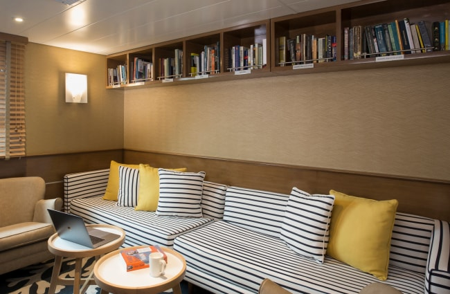 Couch in the Library onboard Isabella cruise