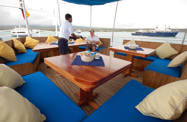 Tables and sofas on the sun deck