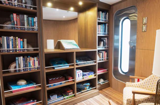 Armchairs and bookshelf