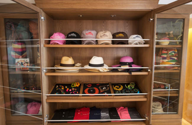 Hats on the shelves at the Boutique