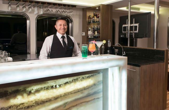 Smiling bartender
