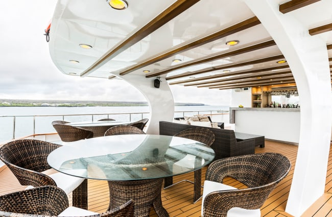 Table and chairs on a yacht's terrace