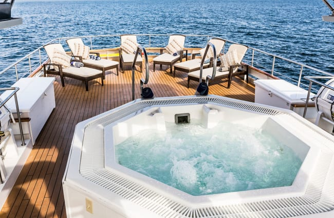 Jacuzzi on the yacht's top deck