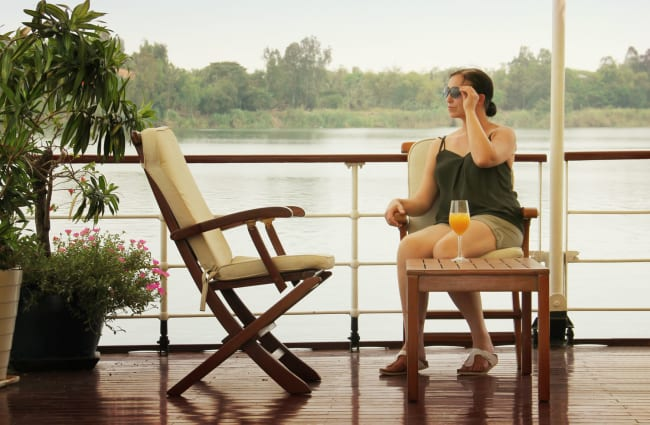 A woman on a deck