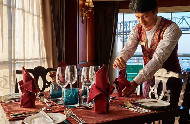 Waiter preparing the table