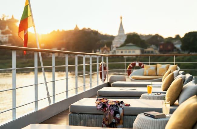 Sun beds on a deck