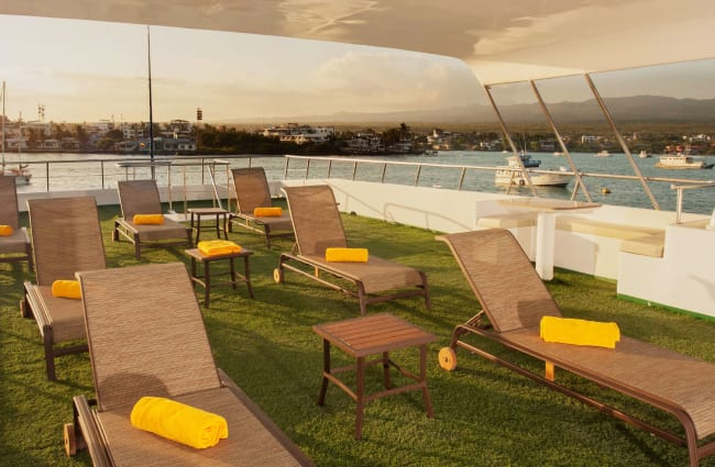 Lounge chairs on a deck