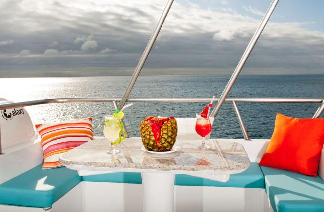 Tropical drinks on a table on a sun deck
