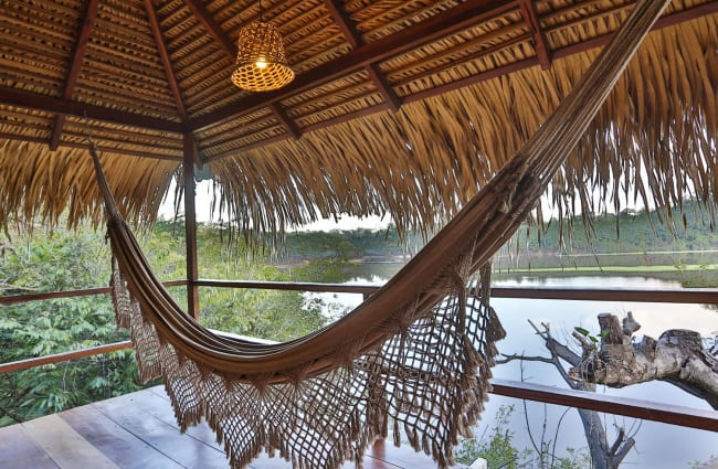 A hammock overlooking the Amazon river