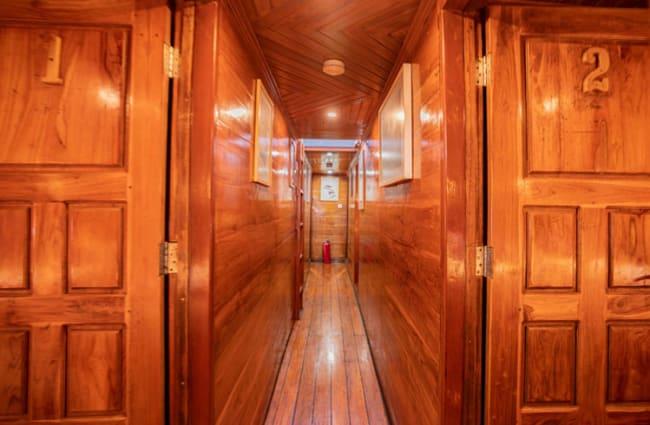 Corridor with wood panels