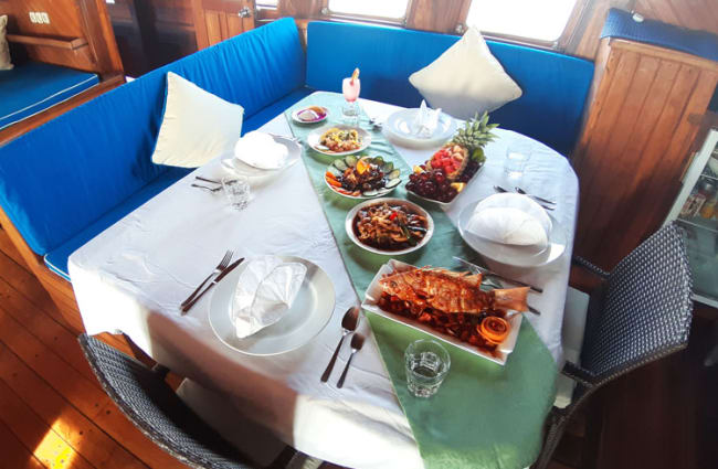Table onboard set for dinner