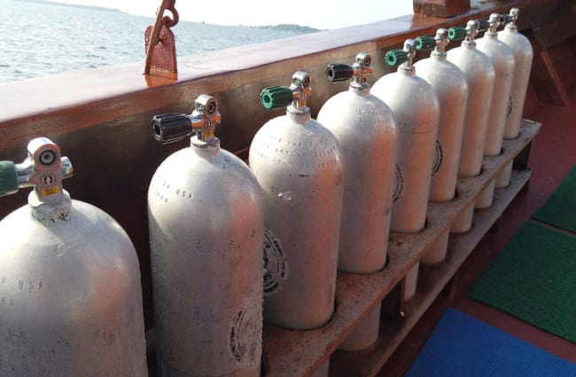 Oxygen tanks lined up