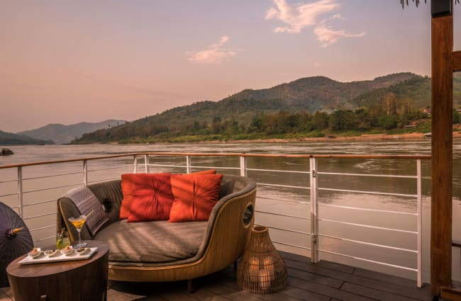 Sitting area on the boat's deck