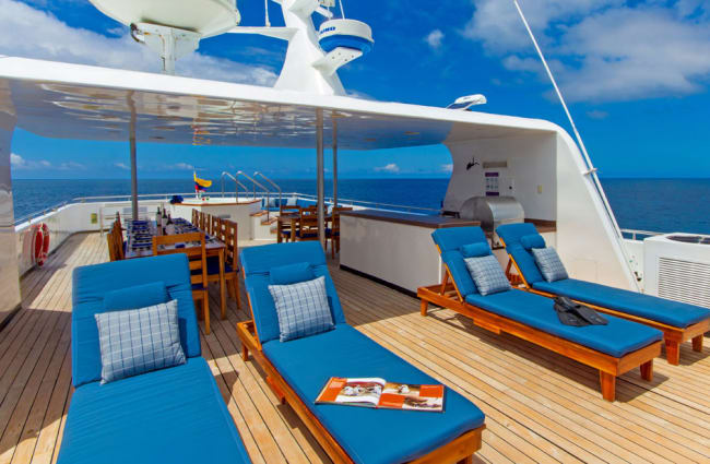 Sun loungers onboard the ship