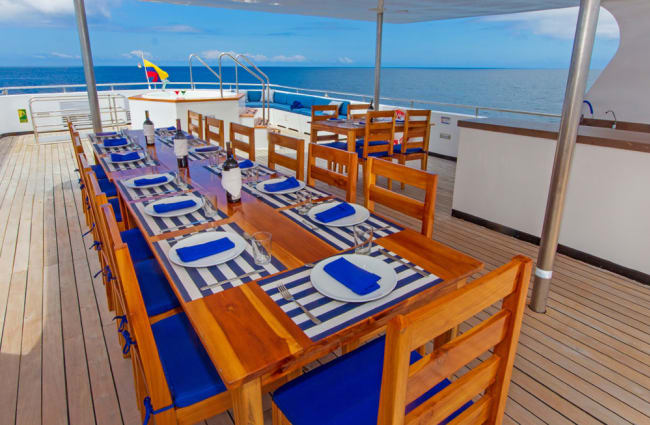 Large dining table on the deck
