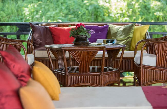 Table and day bed on the deck