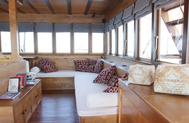 Indoor resting area on board