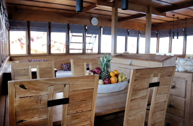 Dining table on board