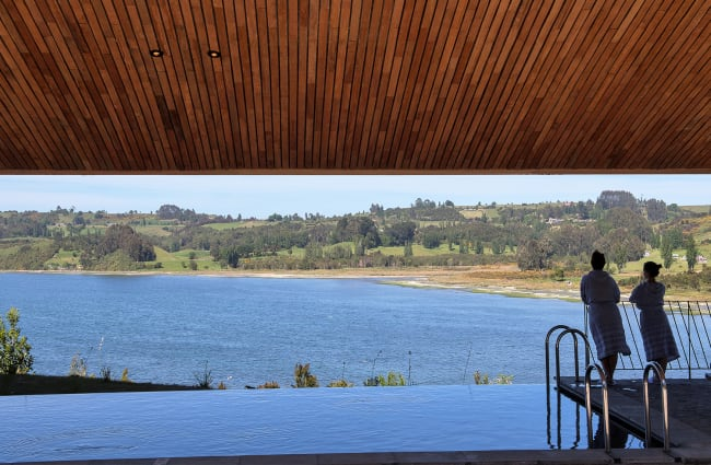 pool and outdoor view of the tierra chiloe lodge