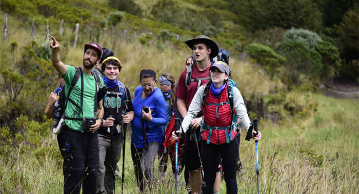 people hiking around ecuador highlands