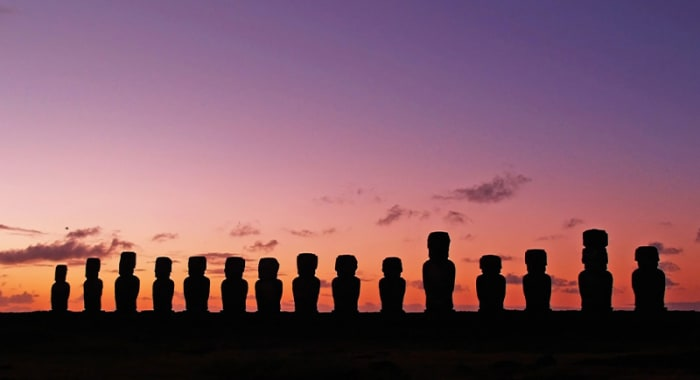 Moai in a line sunset