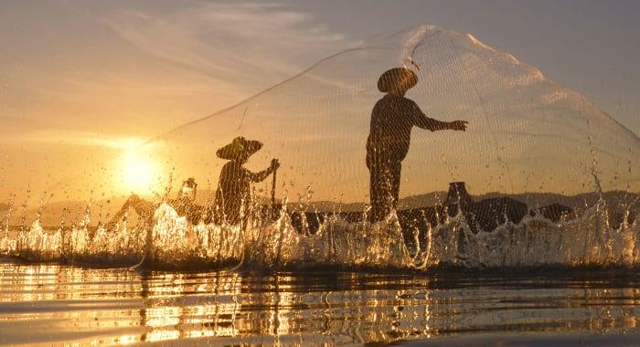 Fishermen on Mekong River