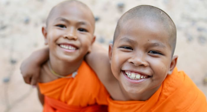 Two young Buddhist novice