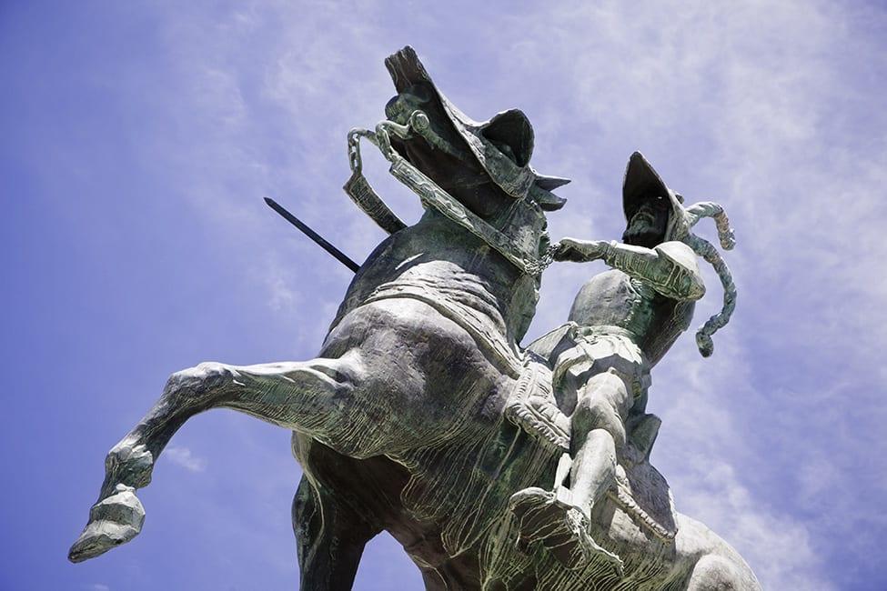 Pizarro Statue Over The Blue Sky