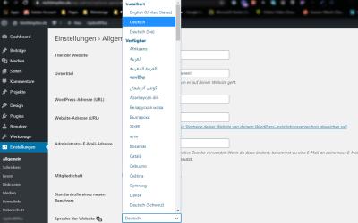 WordPress lässt sich nicht auf Deutsch umstellen