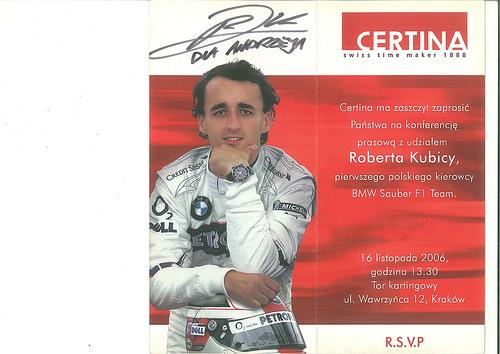 Certina - Konferencja z udziałem Roberta Kubicy