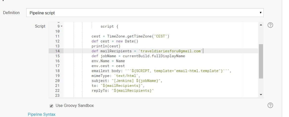 Groovy templates in the Jenkins pipeline with email-ext plugin