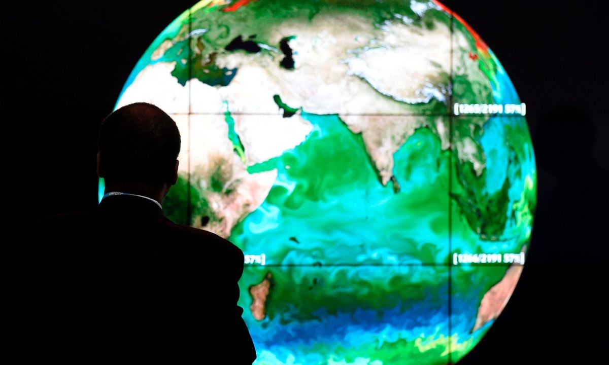 A climate map of the Earth, on display during the UN climate change conference in Paris in 2015. Photograph: Alain Jocard/AFP/Getty Images