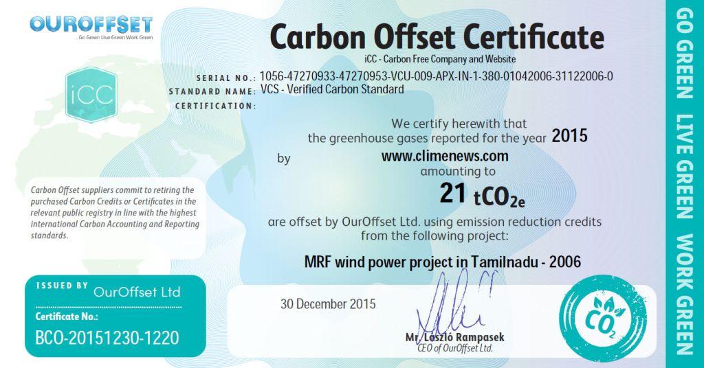 Carbon Offset Certificates - ClimeNews - Hírportál | 2015