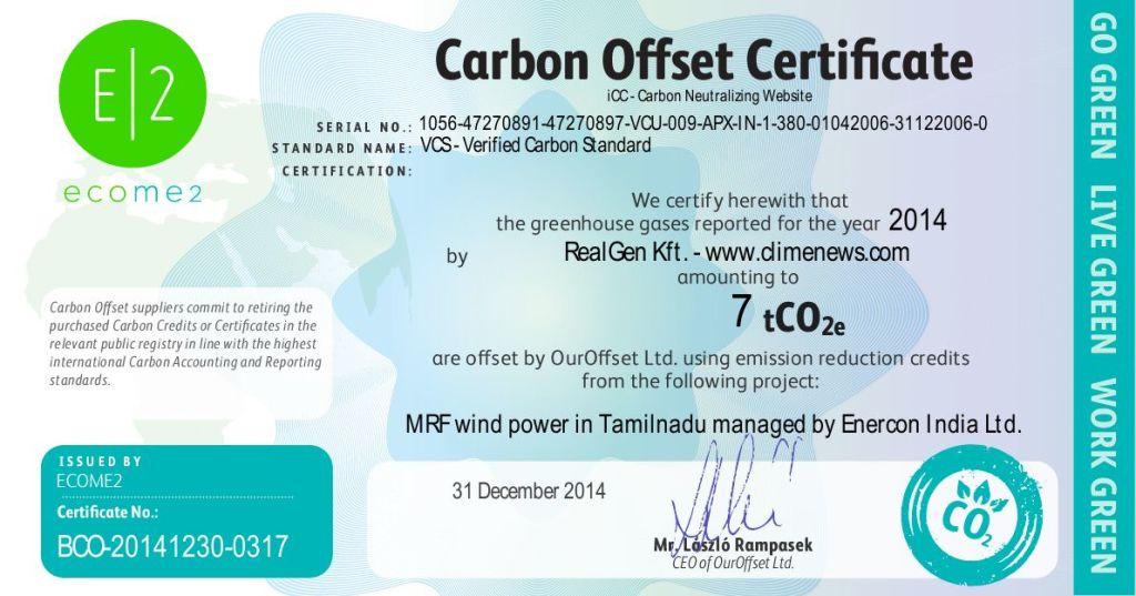Carbon Offset Certificates - ClimeNews - Hírportál | 2014