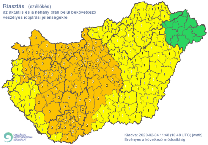Éghajlati vészhelyzet figyelmeztetés   ERŐSEN VIHAROS SZÉL   ClimeNews - Hírportál