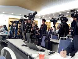 Az IPCC sajtótájékoztatója Incshonban   ClimeNews -Hírportál   Fotó: Ürge-Vorsatz Diana