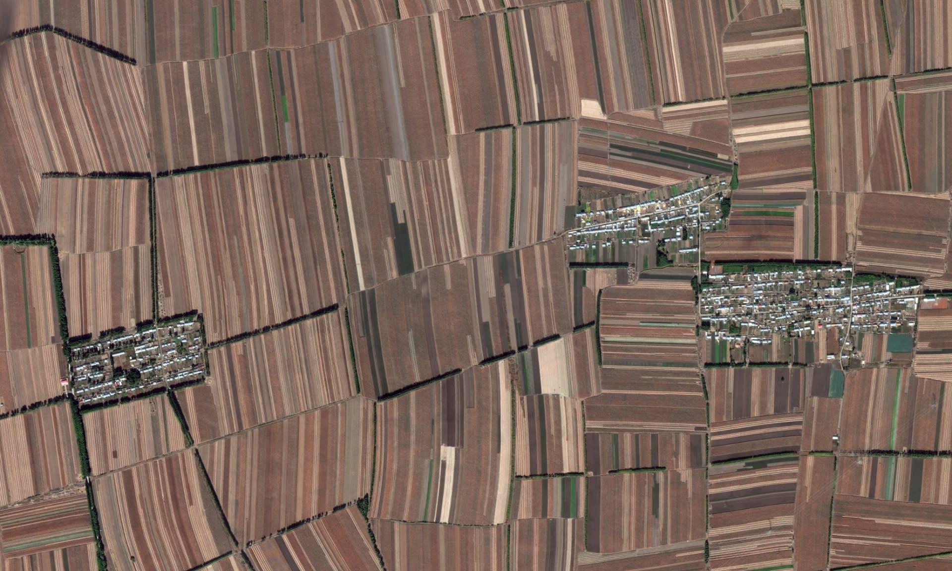 A téglalap alakú szántóföldek, fotó: Google Earth/2014 | ClimeNews