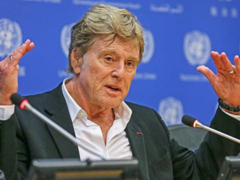 """Robert Redford told the United Nations at a general assembly yesterday, """"This may be our last chance"""" to curb the damage of greenhouse gases on the planet."""