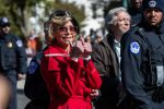 Jane Fonda gives two thumbs up following her arrest at a rally on Capitol Hill in Washington, on Oct. 18, 2019. Manuel Balce Ceneta/AP