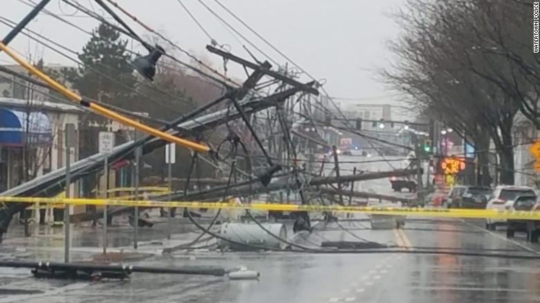elephone poles litter the ground Friday, March 2, 2018, in Watertown, Massachusetts. | ClimeNews
