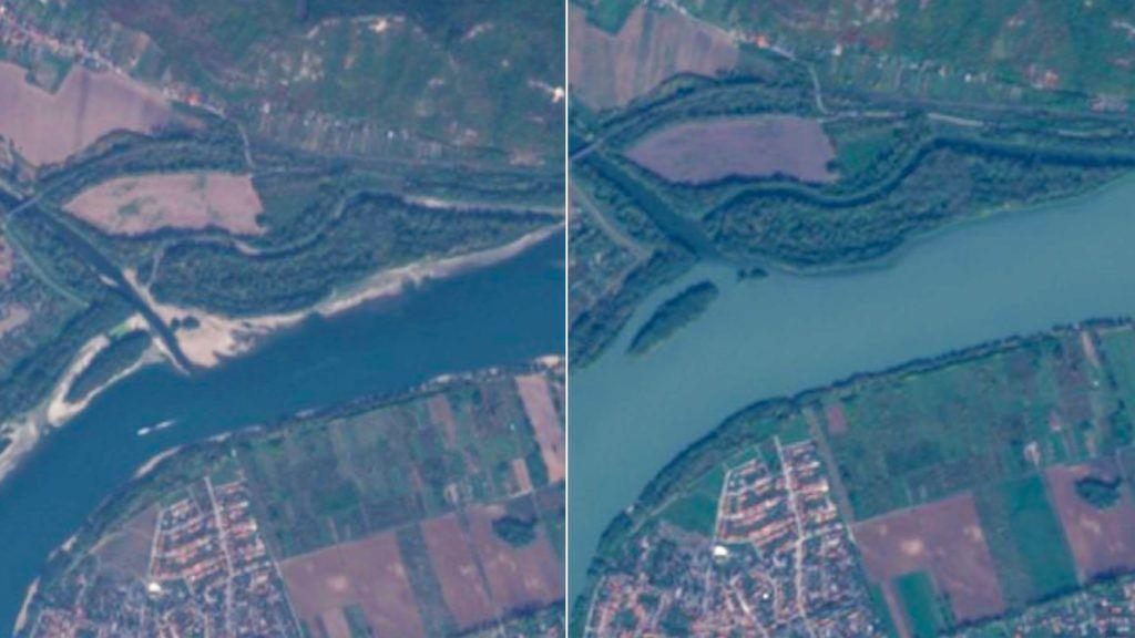Bal oldalon a 2018-as, jobb oldalon a 2017-es felvétel (Forrás: Sentinel) - ClimeNews - Hírportál